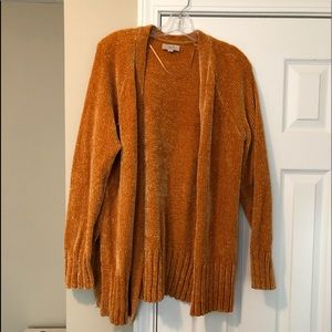 Gold, chenille, open sweater